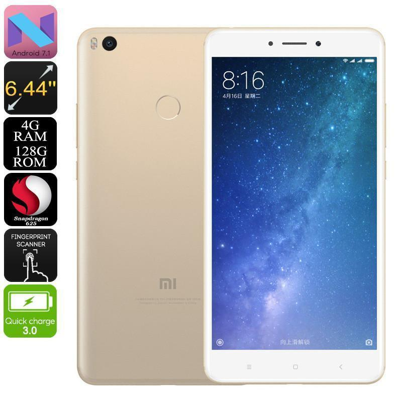 Xiaomi Max 2 Smartphone - 128GB Storage, 4GB RAM, 8 Core CPU, Android 7.1, Two SIM, 4G, 6.44 Inch Screen, 5300mAh Battery (Gold)
