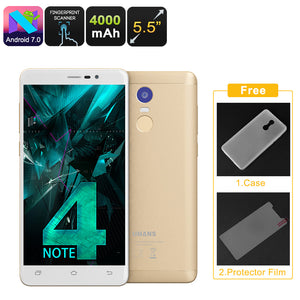 Uhans Note 4 Android-Smartphone - 5.5-Zoll-Quad-Core-CPU, 3 GB RAM, Android 7.0, Dual-IMEI, 4G, 13-Megapixel-Kamera, 4000 mAh (Gold) - Beewik-Shop.com