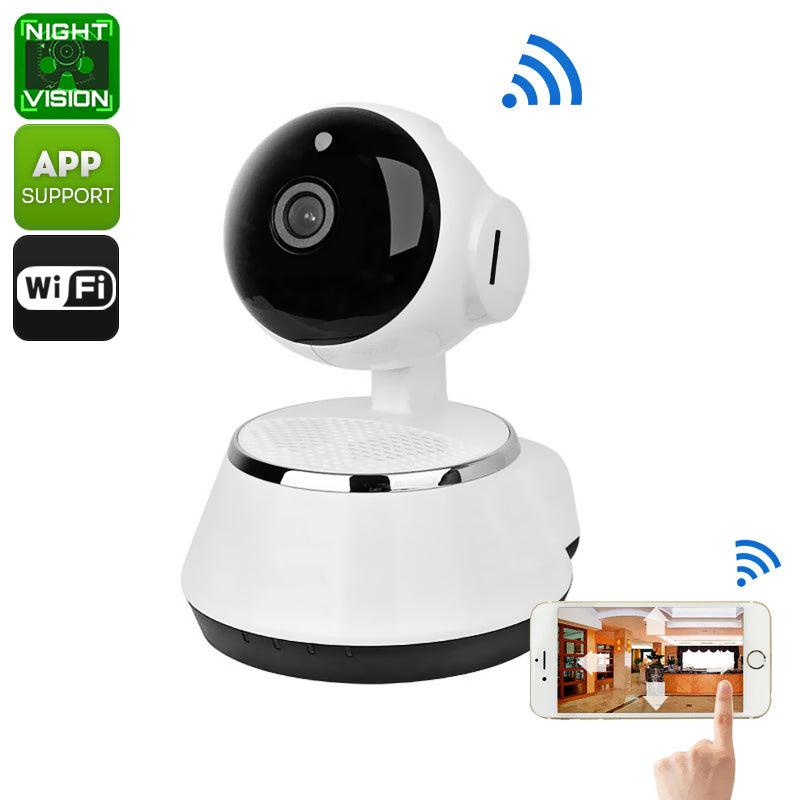 Wireless IP Camera - 1/4-Inch HD CMOS, 720p, SD Card Recording, App Support, Night Vision, IR Cut, Motion Detection, WiFi, PTZ - Beewik-Shop.com