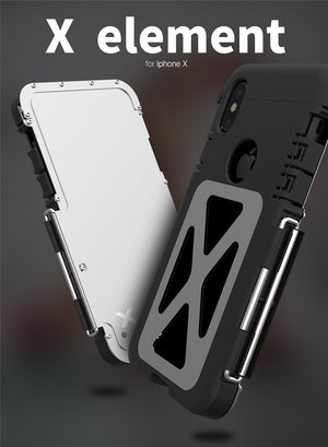 Metal Mobile Phone Shell for iPhone X - Shock Proof, 360 Degree Protection, X Design
