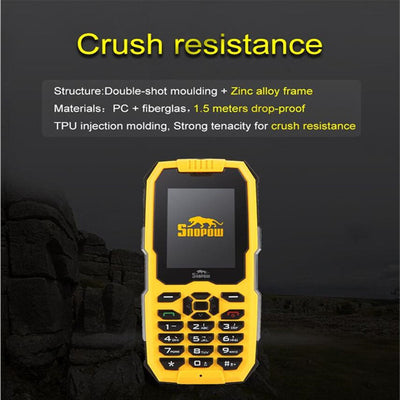 SNOPOW M2 Phone - IP68  Waterproof, FM Radio 0.3MP Camera,  Flashlight, 2500mAh Battery, 2.4-Inch Yellow - Beewik-Shop.com
