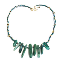 Handwoven Green Agate Necklace