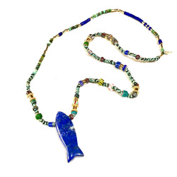 Lapis Fish Necklace
