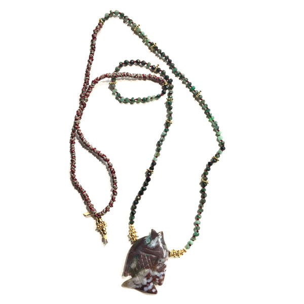Emerald&Fish Long Necklace