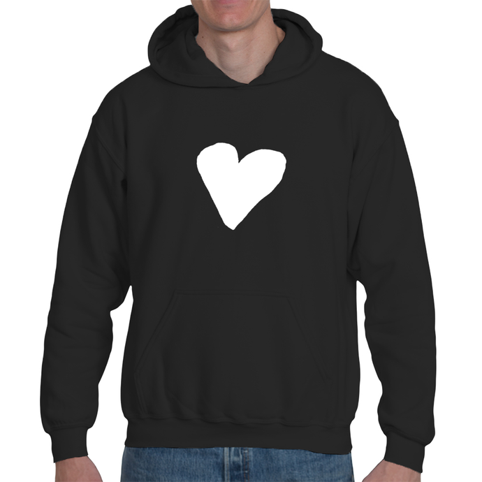 White Heart, Organic Cotton Unisex Pullover Hoodie