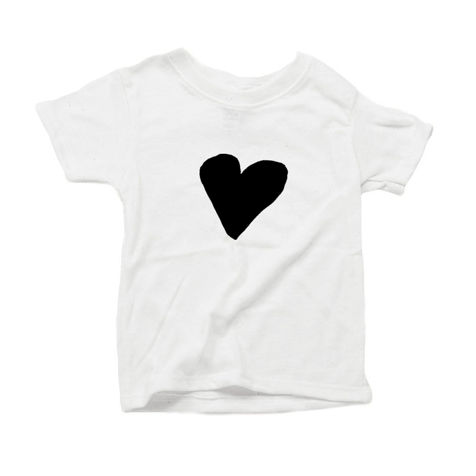 Organic Toddler Unisex T-Shirt, Black Heart