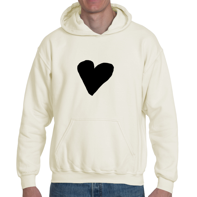 Black Heart, Organic Cotton Unisex Pullover Hoodie