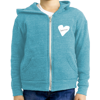 Sensitive Heart, Youth Triblend Fleece Unisex Zip Hoodie (6 colors available)