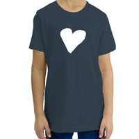Organic Youth T-Shirt, White Heart (7 colors available)