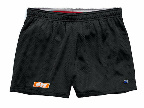 Women's D17 Orange Logo Shorts. Champions Only.