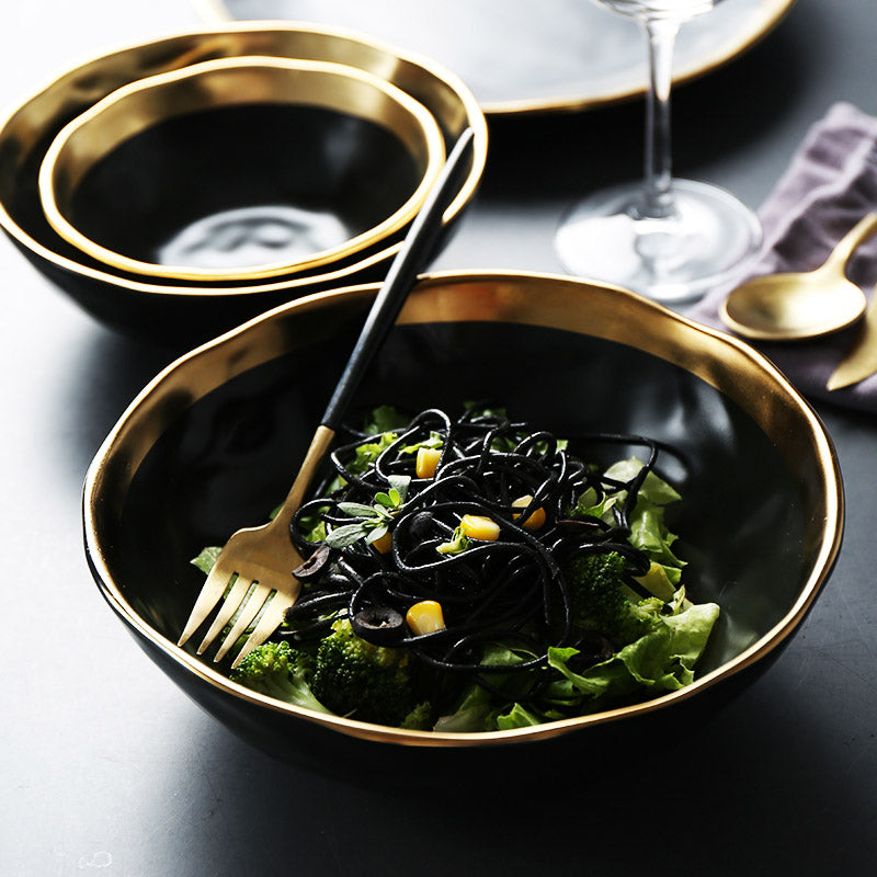 Matte Gilt-Edged Black Ceramic Bowl Price - TheBrainyHouse