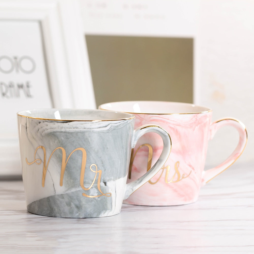 Handpainted Gold Monogram Natural Marble Coffee Mug Mr and Mrs - TheBrainyHouse