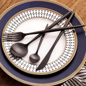 Black Stainless Steel Dinnerware - European style - TheBrainyHouse