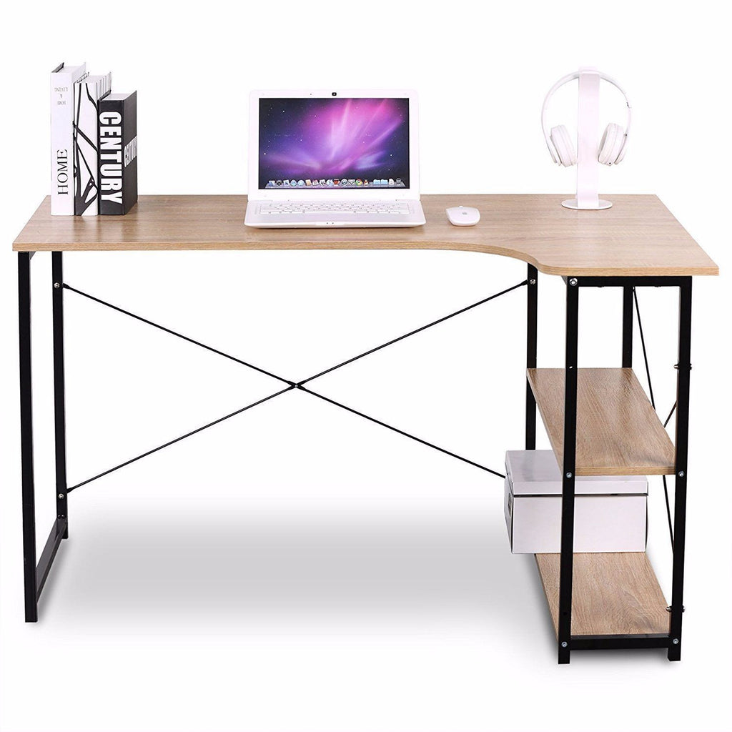 Wooden Computer PC Laptop Desk with Storage Racks - TheBrainyHouse