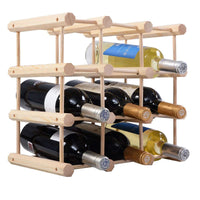 12 Bottle Wood Wine Rack - TheBrainyHouse