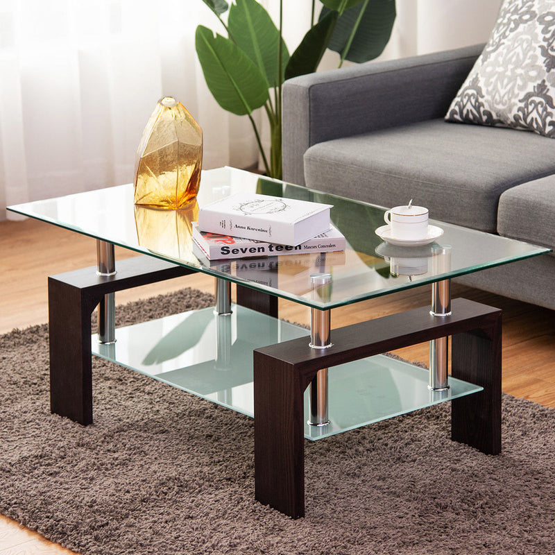 Rectangular Tempered Glass Coffee Table w/ Shelf - TheBrainyHouse