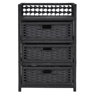 WIcker 3 Drawer Storage Tower Shelf (Black) - TheBrainyHouse
