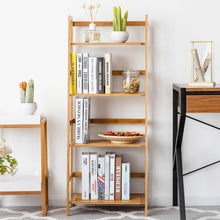 Load image into Gallery viewer, Multifunctional 4 Shelf Bamboo Bookcase Ladder - TheBrainyHouse