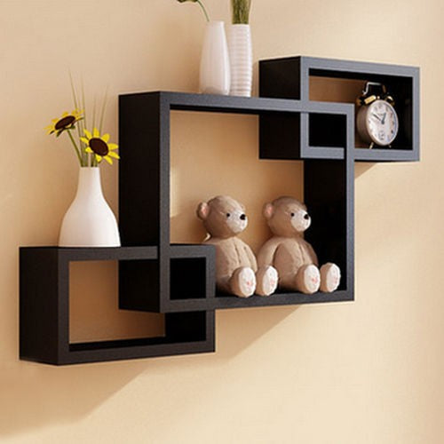 Black Intersecting Floating Shelf - TheBrainyHouse