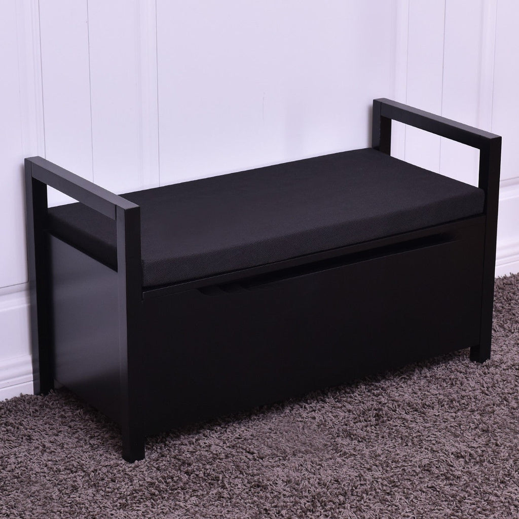 Shoe Bench Storage Rack Cushion Seat Ottoman - Black - TheBrainyHouse