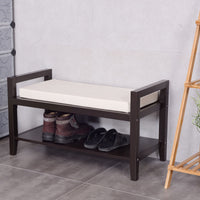 Wood Shoe Storage Rack Bench with Ottoman Cushion Seat - TheBrainyHouse