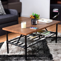 2-Tier Coffee Table with Shelf - TheBrainyHouse