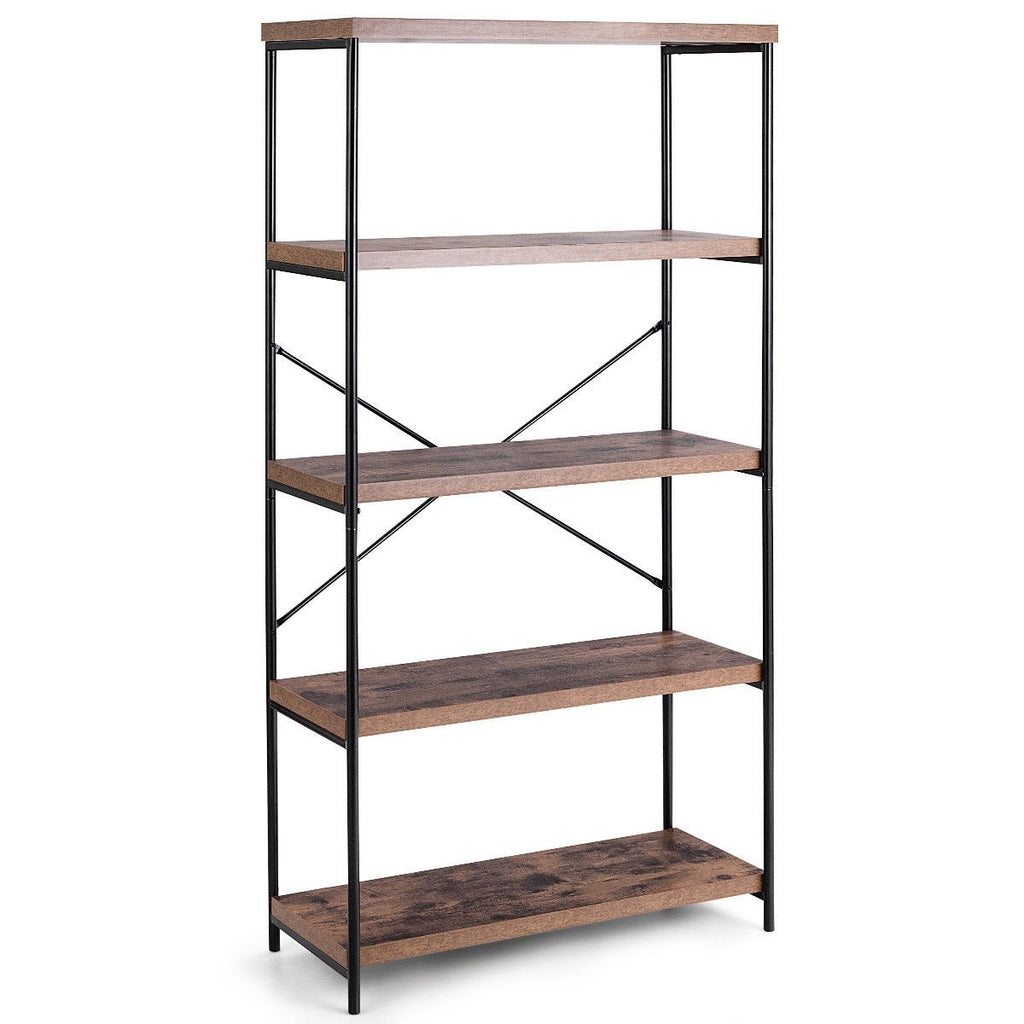 Multipurpose Open Bookcase Industrial Rack Storage Shelf - TheBrainyHouse