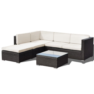 Patio Rattan Cushioned Furniture Set (4PCs) - TheBrainyHouse