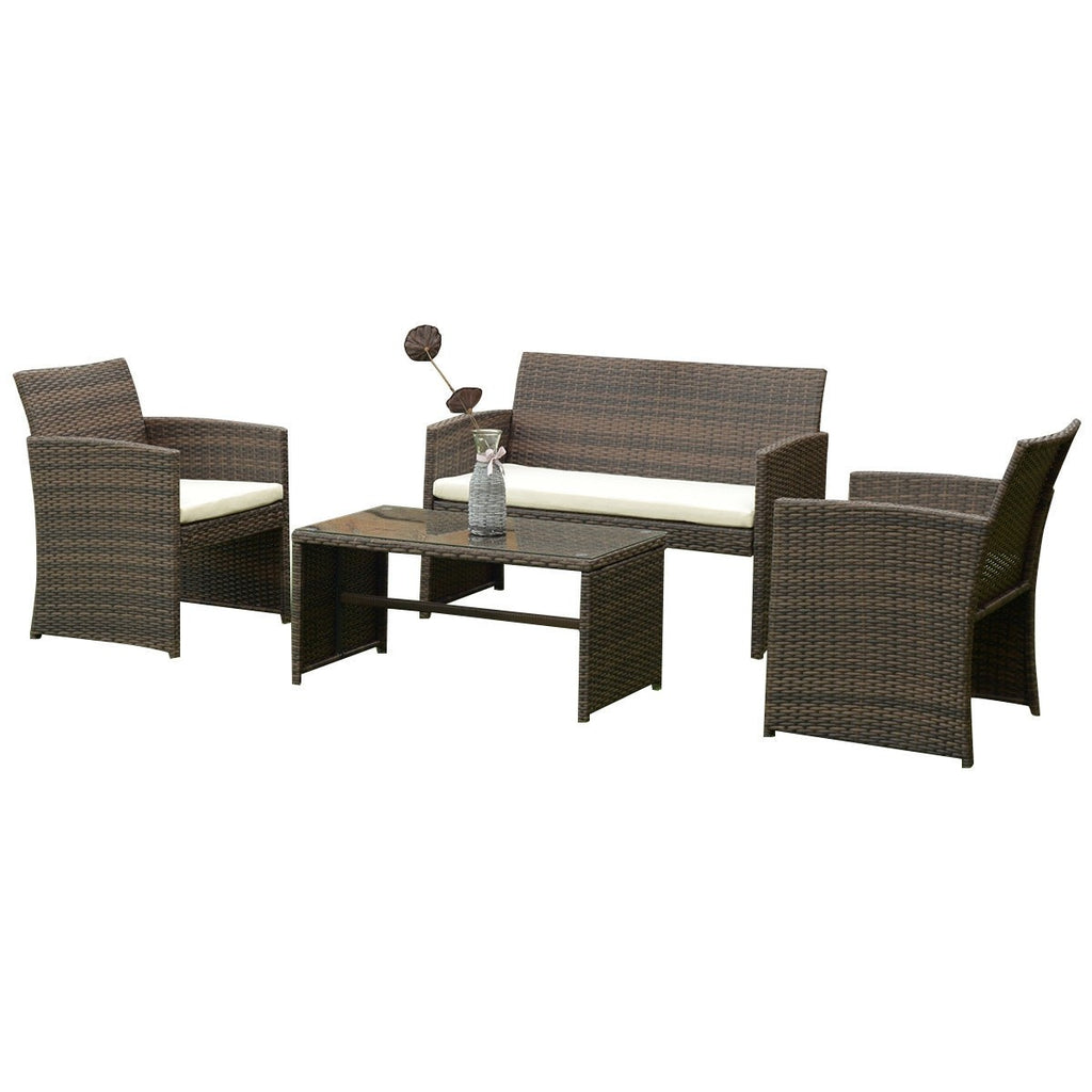 Patio Rattan Wicker Furniture Set (4PCs) - TheBrainyHouse