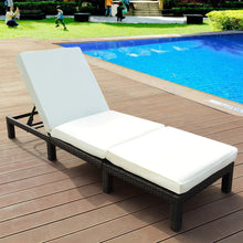 Load image into Gallery viewer, Patio Adjustable Wicker Chaise Lounge Furniture with Cushion - TheBrainyHouse