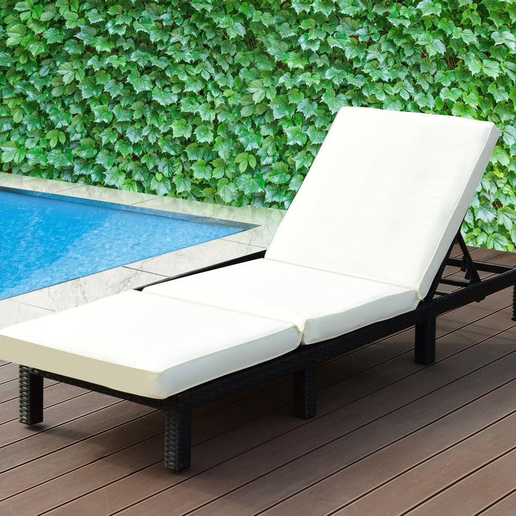 Patio Adjustable Wicker Chaise Lounge Furniture with Cushion - TheBrainyHouse
