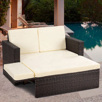 Patio Rattan Sofa Ottoman (2PCs) - TheBrainyHouse