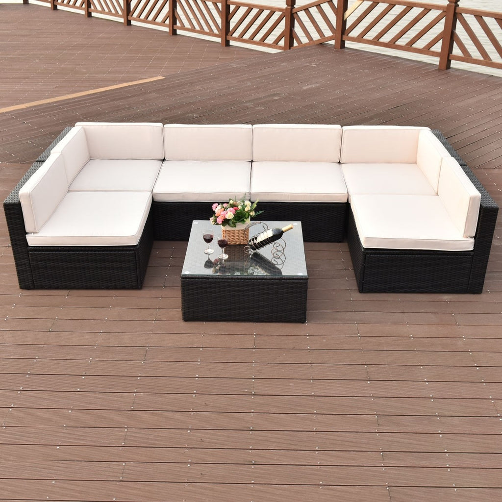 Patio Rattan Wicker Furniture Set (7PCs) - TheBrainyHouse