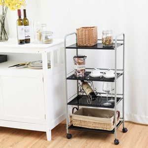 4 Tiers Rolling Cart Storage Display Rack - TheBrainyHouse