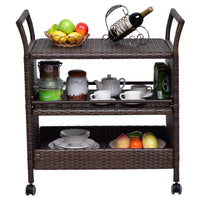 Rattan Rolling Serving Cart Storage Shelves Rack - TheBrainyHouse