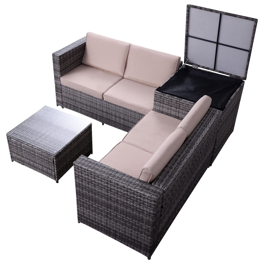 Rattan Wicker Furniture Set with Storage Box (4PCs) - TheBrainyHouse