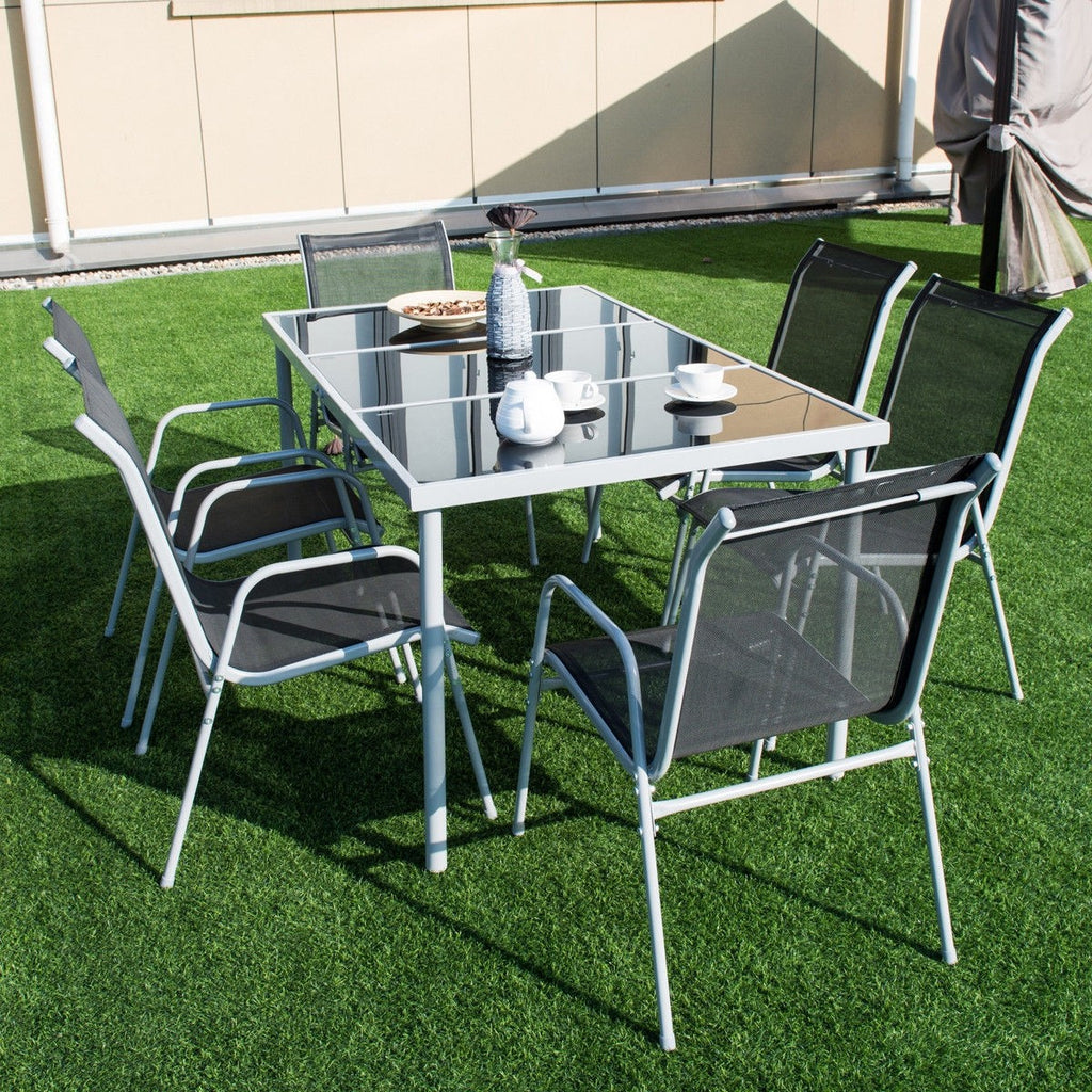 Patio Furniture Steel Table Chairs Dining Set (7PCs) - TheBrainyHouse