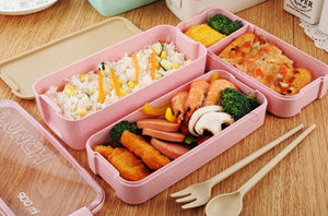 Bento Box with 3 Layers and Wheat Fork and Spoon - TheBrainyHouse