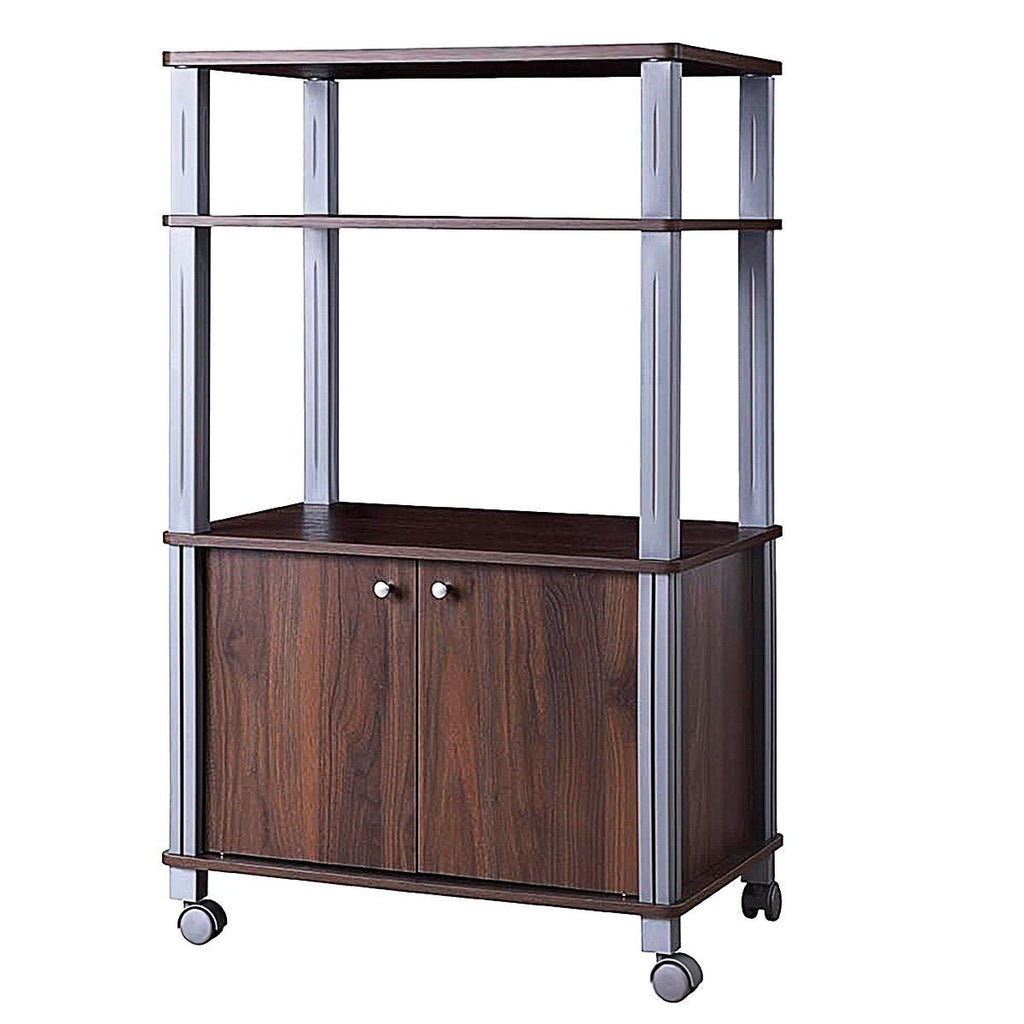 Bakers Rack Microwave Stand Rolling Storage Cart - Walnut - TheBrainyHouse
