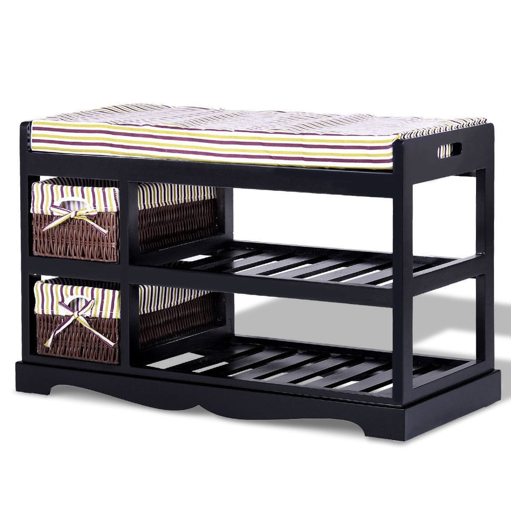 2 Basket Padded Entryway Shoe Storage Bench Rack-Black - TheBrainyHouse
