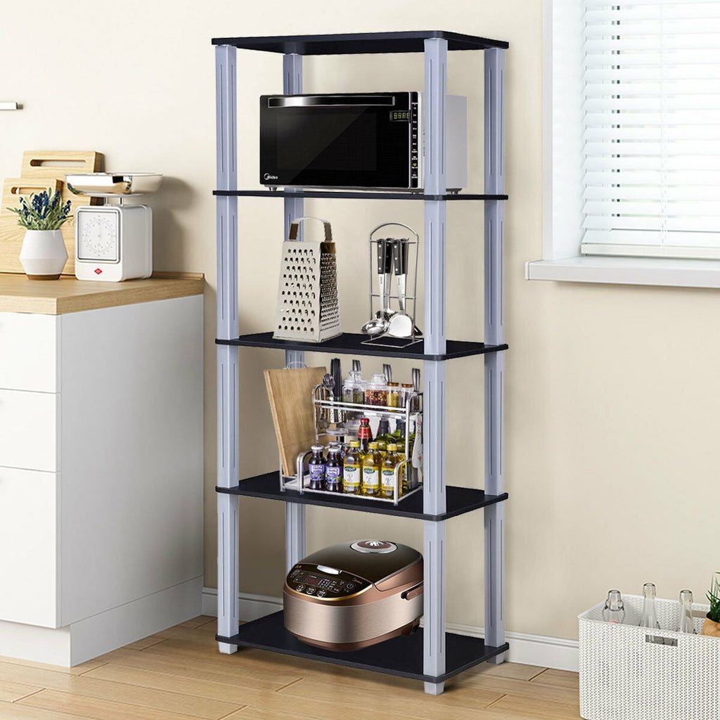 5-Tier Multi-Functional Storage Shelves Rack Display Bookcase-Black - TheBrainyHouse