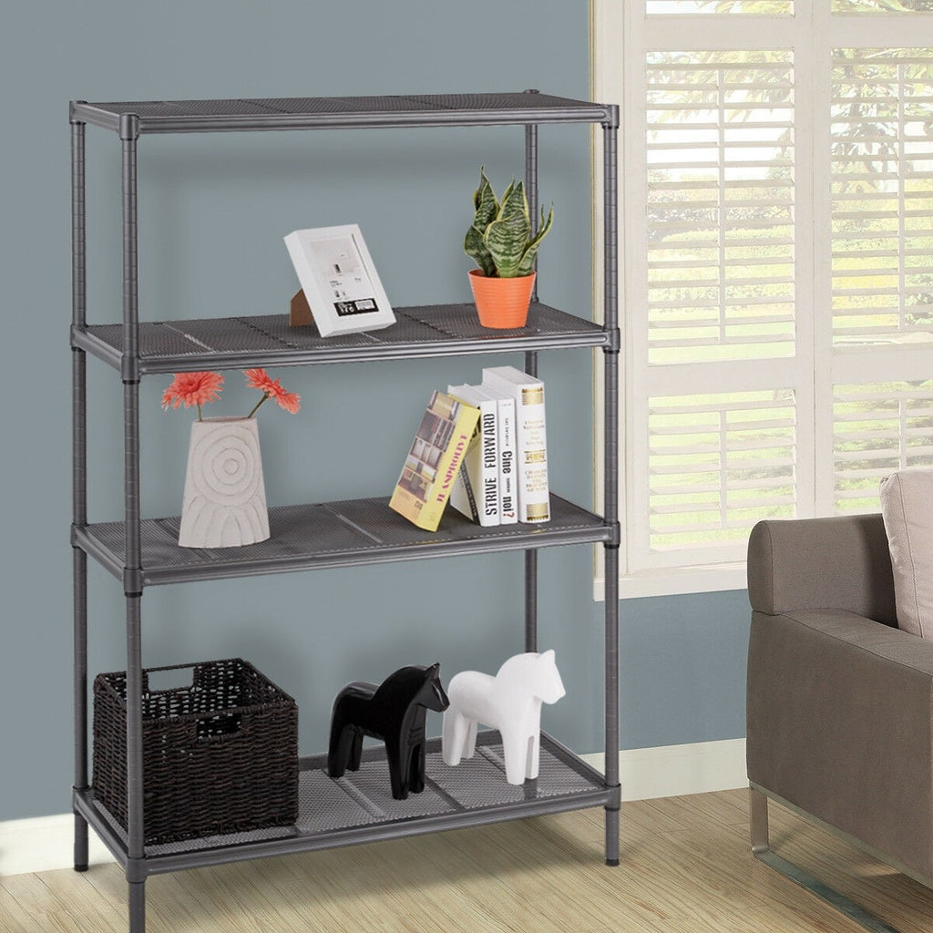 "59"" Height Adjustable Storage Rack 4-Layer Heavy Duty Steel Mesh Shelf - TheBrainyHouse"