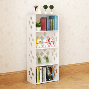 Wood-plastic Board Five Tiers Rhombus Lattice Storage Rack White - TheBrainyHouse