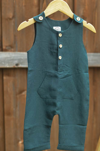 forest green linen romper