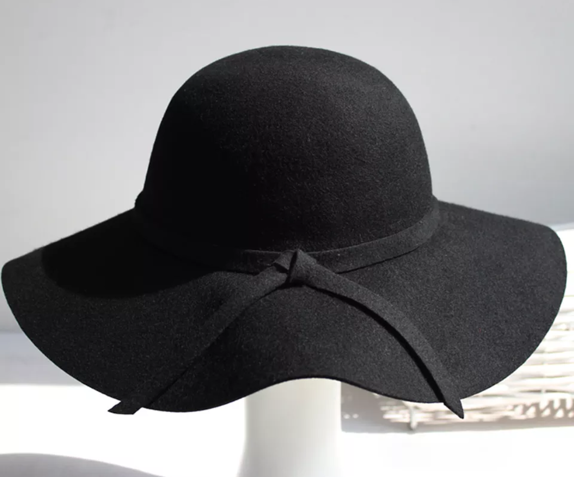 Women's Wide Brim Floppy Hat Black