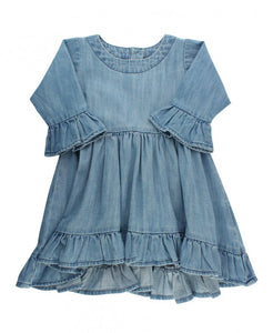 Denim High Low Ruffle Tunic by RuffleButts