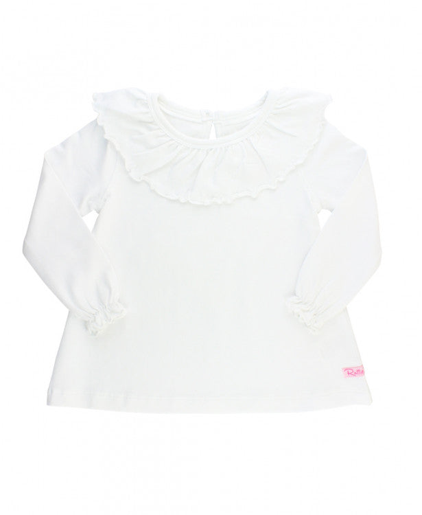 Girls White Ruffle Neck Top by RuffleButts