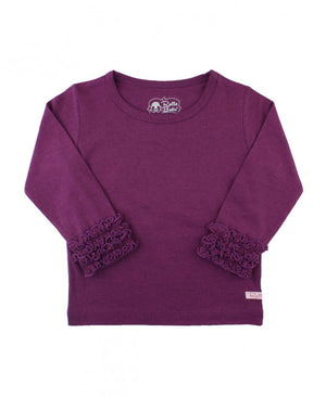 Little Girls Plum Ruffled Long Sleeve Layering Tee by RuffleButts