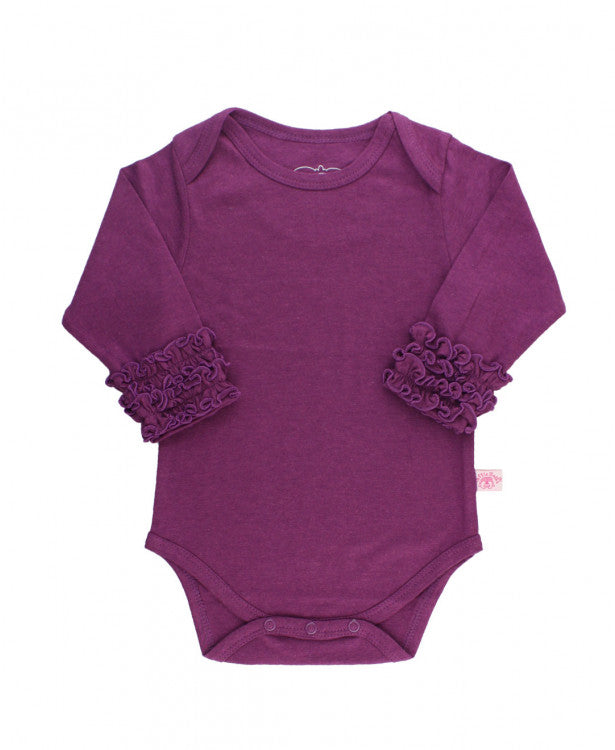 Little Girls Plum Ruffled Long Sleeve Layering Bodysuit by RuffleButts