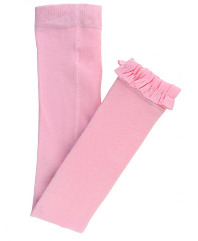 Little Girls Pink Footless Ruffle Tights by RuffleButts